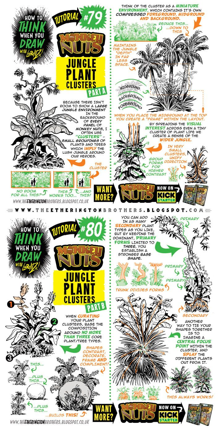 706x1387 how to draw jungle plant clusters tutorial