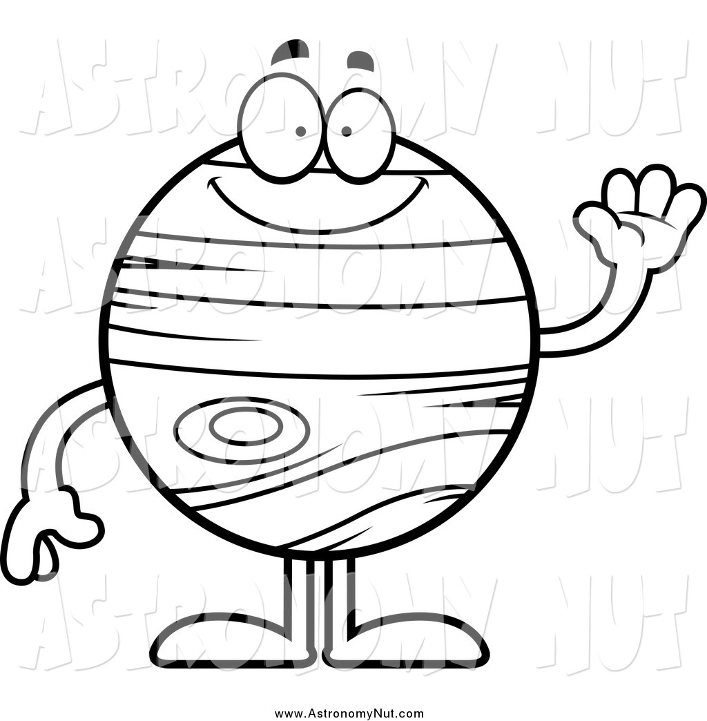 1024x1044 Clipart Of A Black And White Happy Planet Jupiter Waving