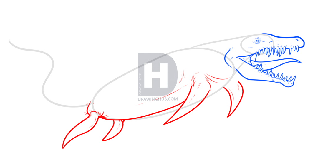 1080x541 How To Draw A Mosasaurus From Jurassic World, Step