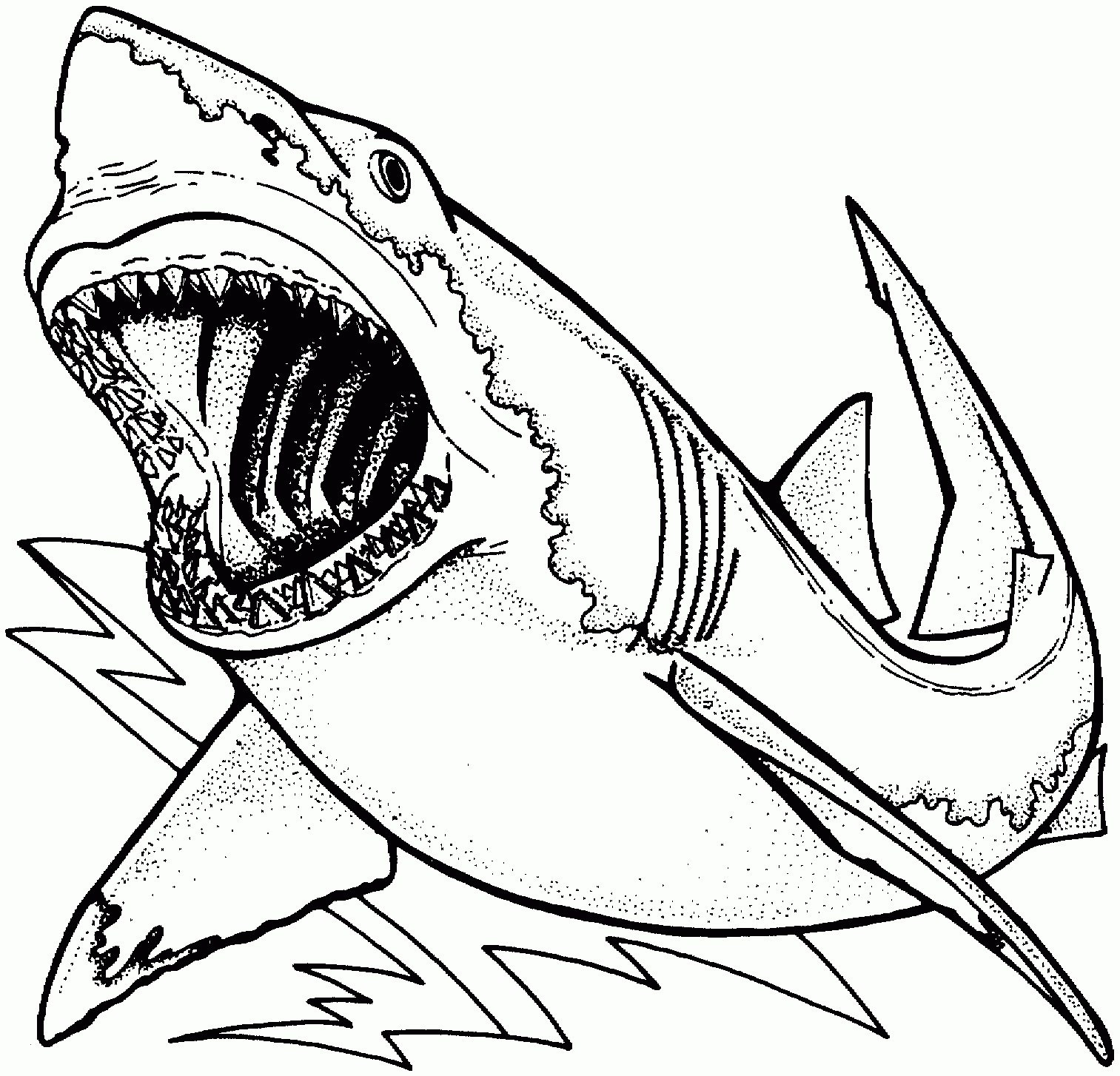 1513x1454 Megalodon Shark And Jurassic World Mosasaur Dinosaurs Color Pages