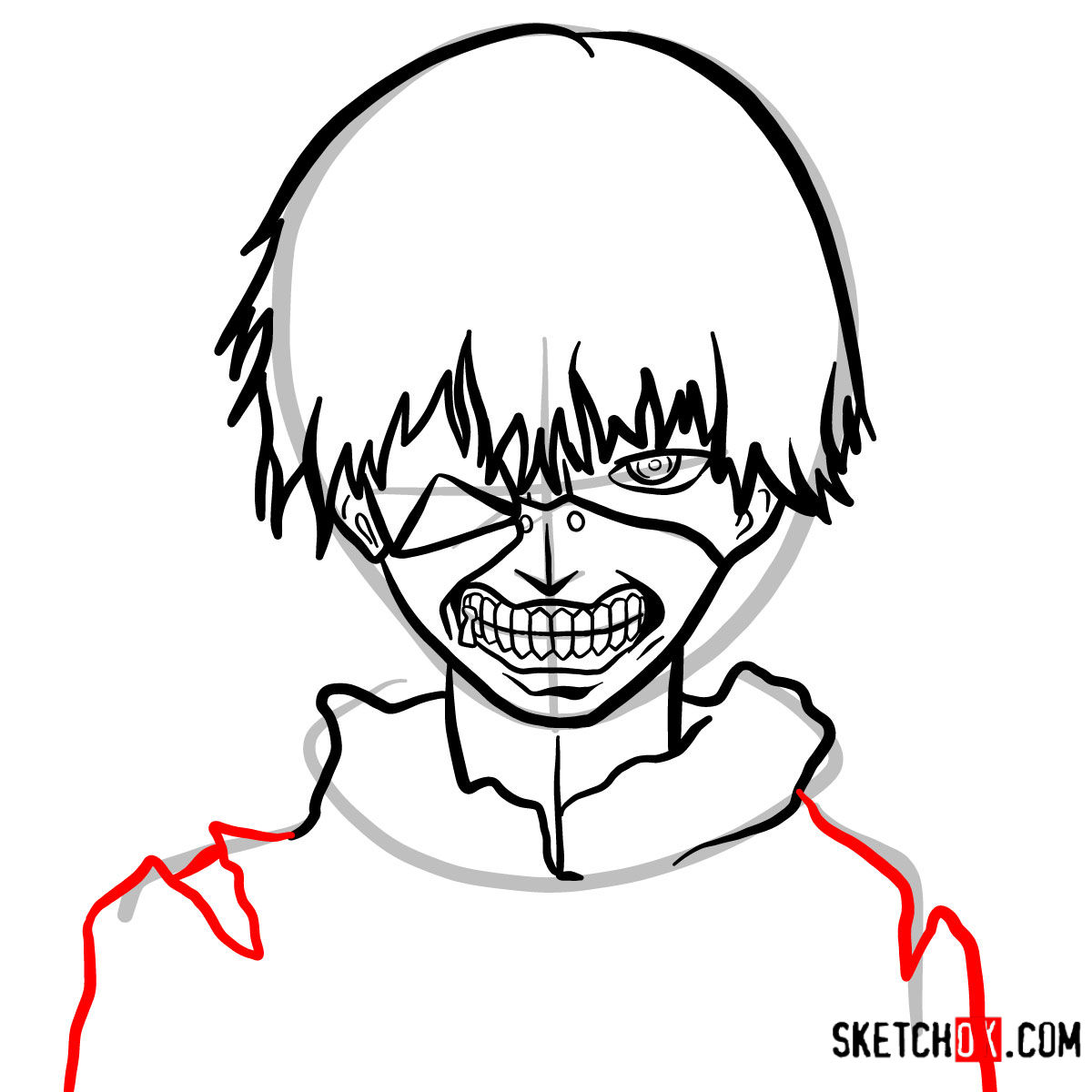 1200x1200 how to draw ken kaneki ghoul in a mask tokyo ghoul