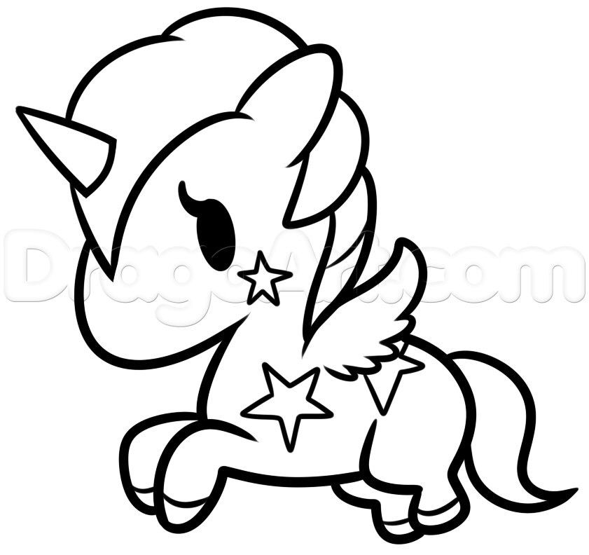 Kawaii Unicorn Drawing