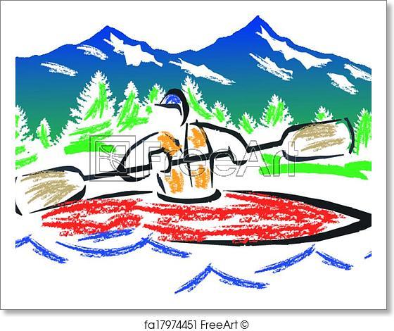 560x470 free art print of crayon kayak vector fast water paddler in kayak