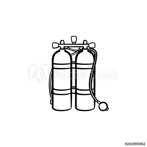 500x500 oxygen tank hand drawn outline doodle icon tank with helium