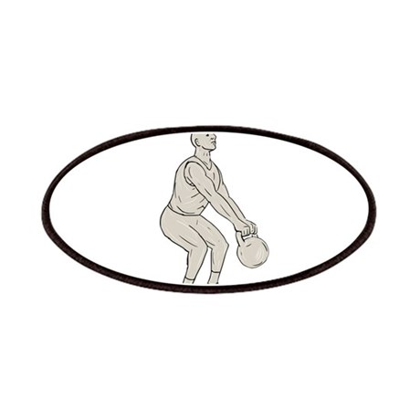 460x460 athlete fitness squatting kettlebell drawing patch