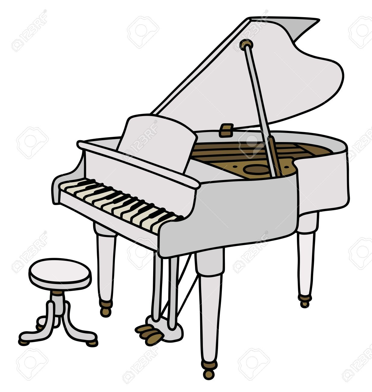 1234x1300 hand drawing of a classic white grand piano on piano