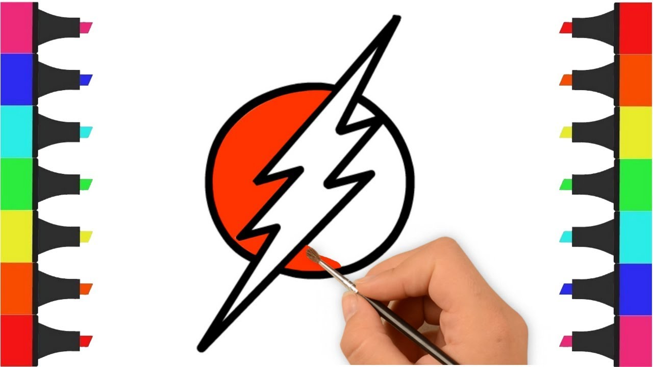 1280x720 flash logo coloring pages for kids how to draw flash logo