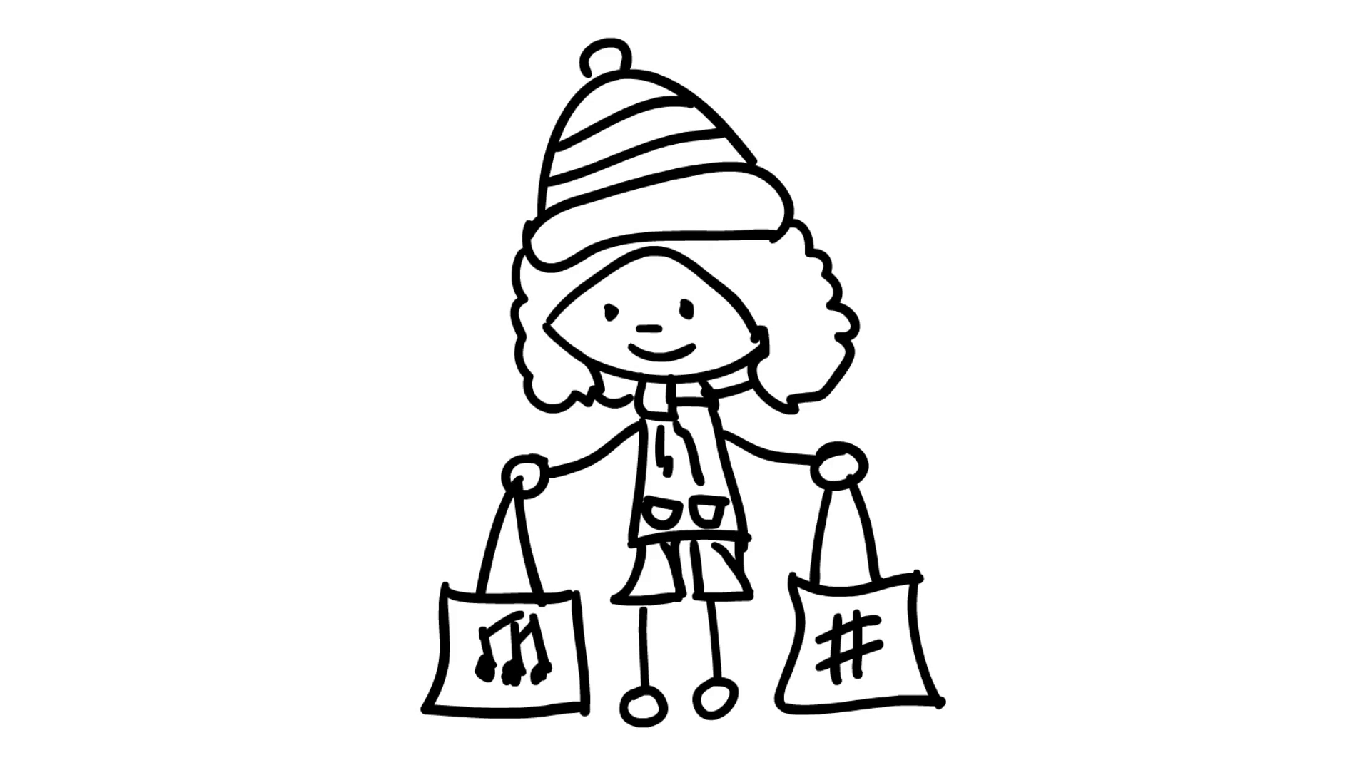 1920x1080 Christmas Kids Shopping With Bags In Hand Line Drawing