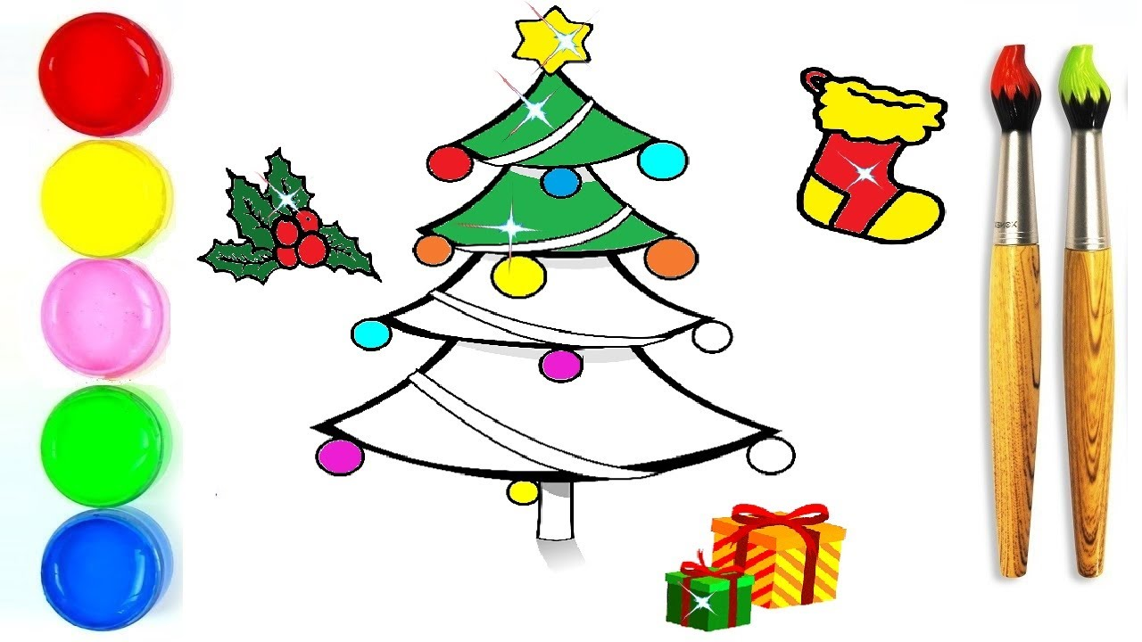 1280x720 Glitter Christmas Tree Ornaments Coloring And Drawing For Kids