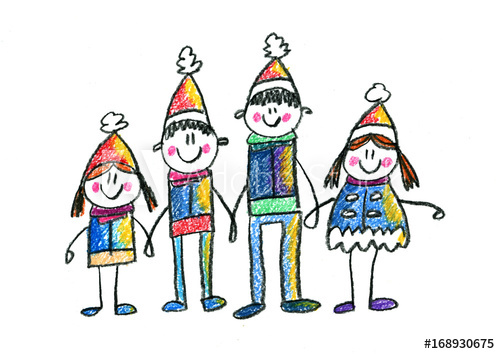 500x354 Happy Family Kids Drawing Mother, Father, Sister, Brother