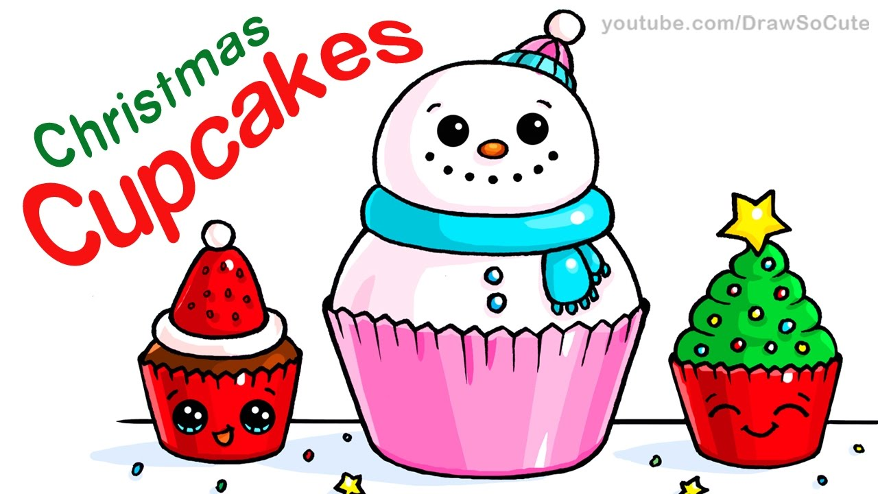 1280x720 How To Draw Christmas Cupcakes Step