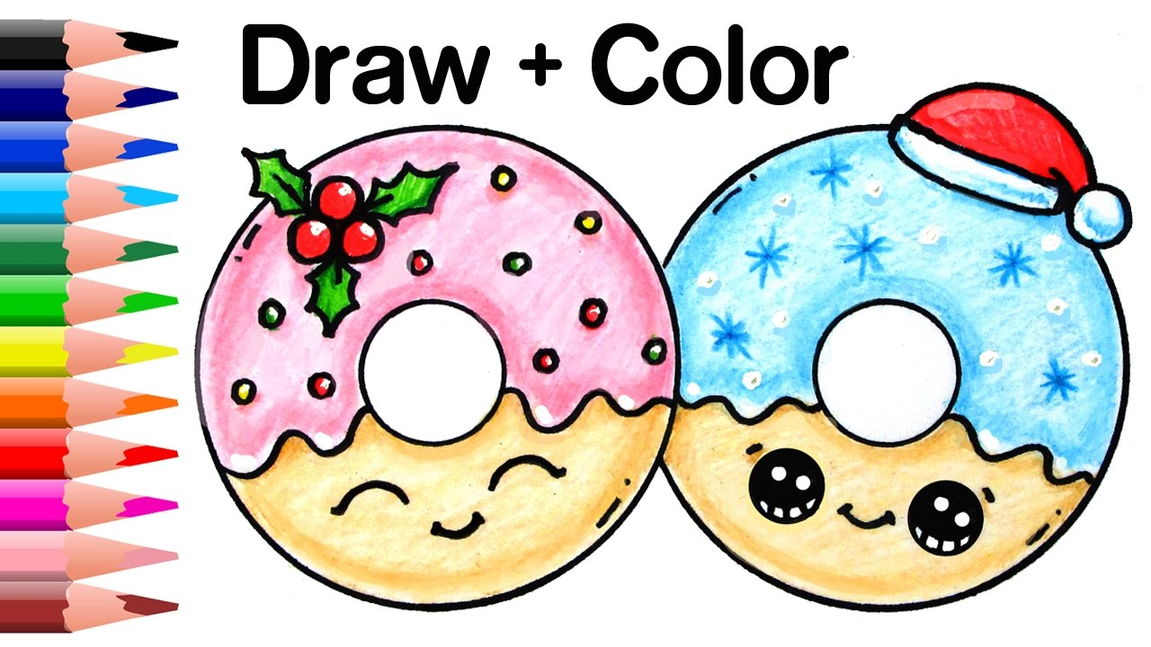 1280x720 How To Draw Christmas Donuts Easy And Cute Kids Youtube