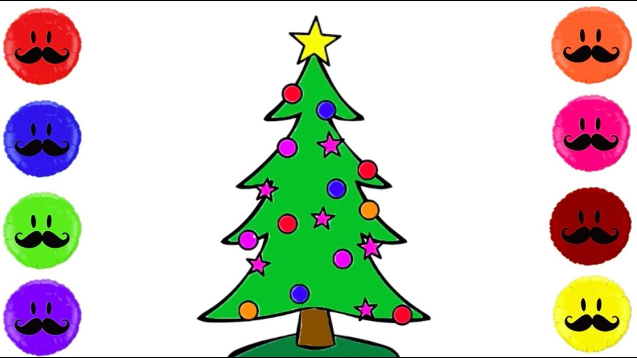 1280x720 How To Draw Christmas Tree For Children Coloring For Kids