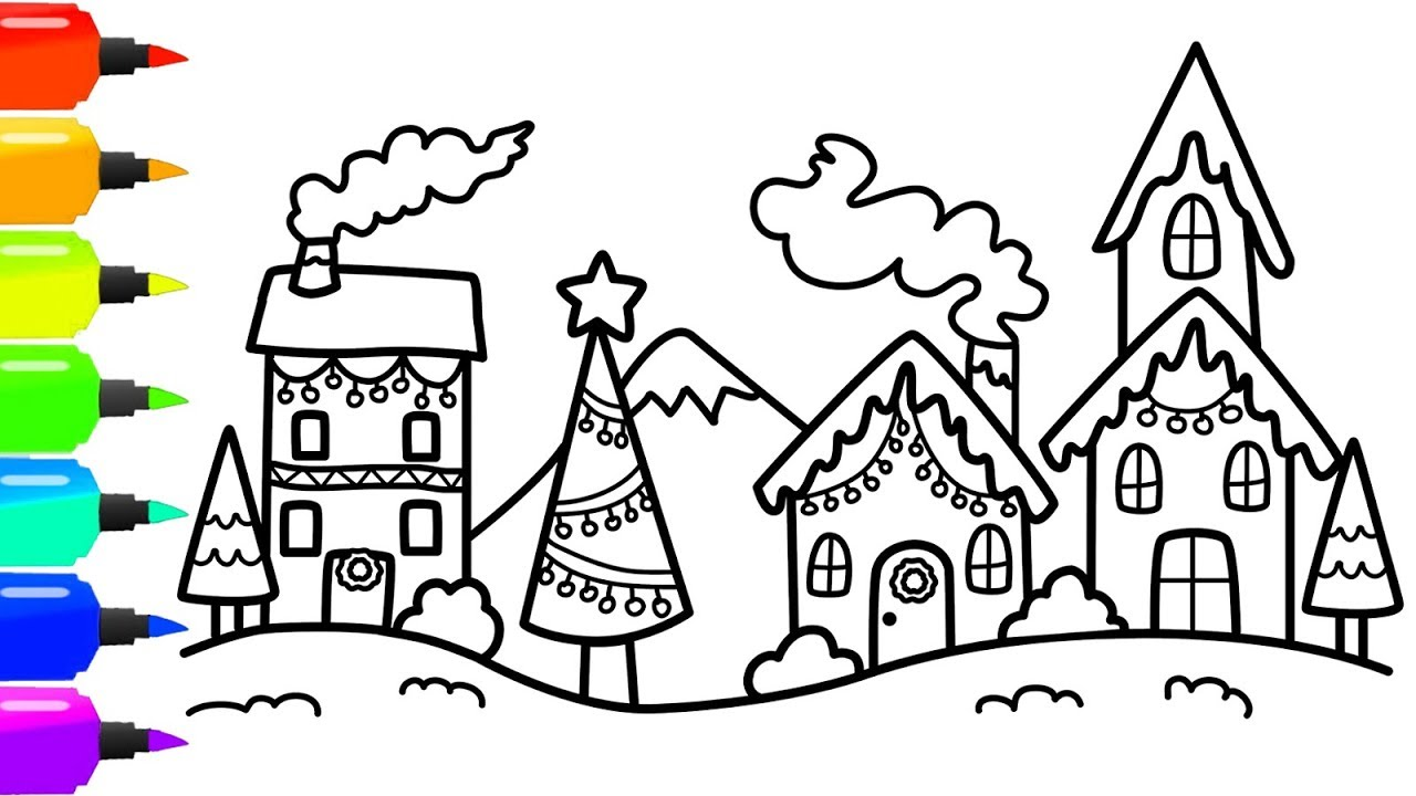 1280x720 How To Draw A Colorful Christmas Village Scene For Christmas