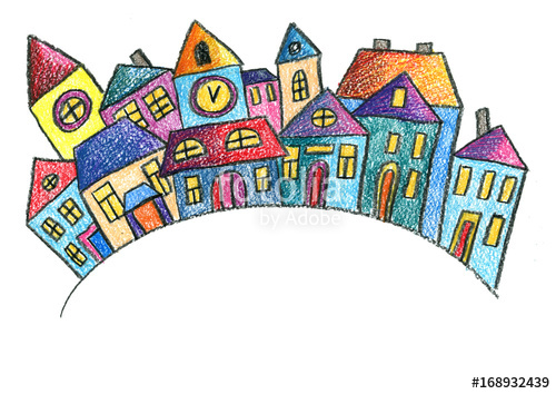 500x354 Old Town Old City Christmas City Kids Drawing Style Children