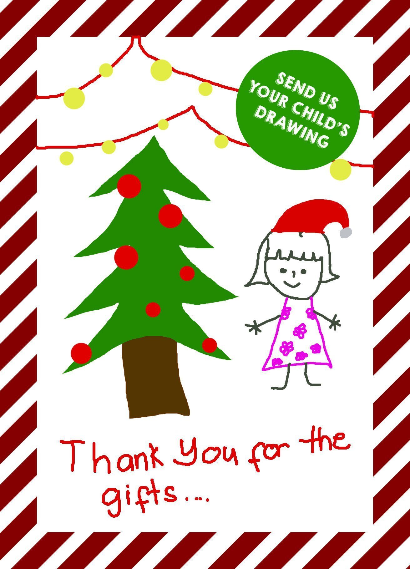 1311x1819 Your Kids Personalised Drawing Christmas Thank You Cards