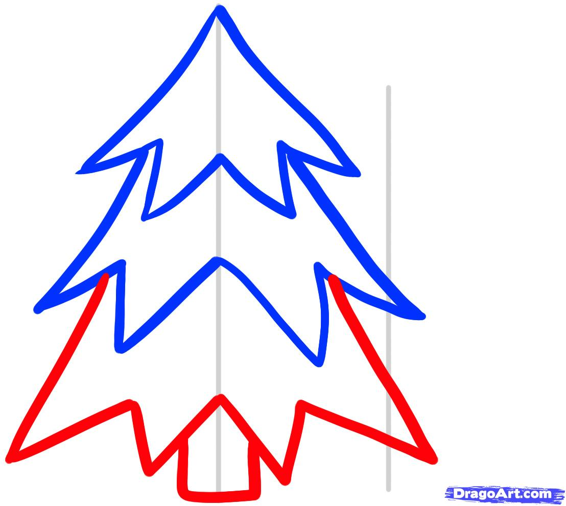 1108x991 Christmas Tree Drawing Easy For Kids Step