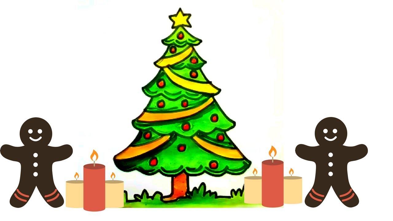 1280x720 Christmas Tree Drawing For Kids Halloween Holidays Wizard