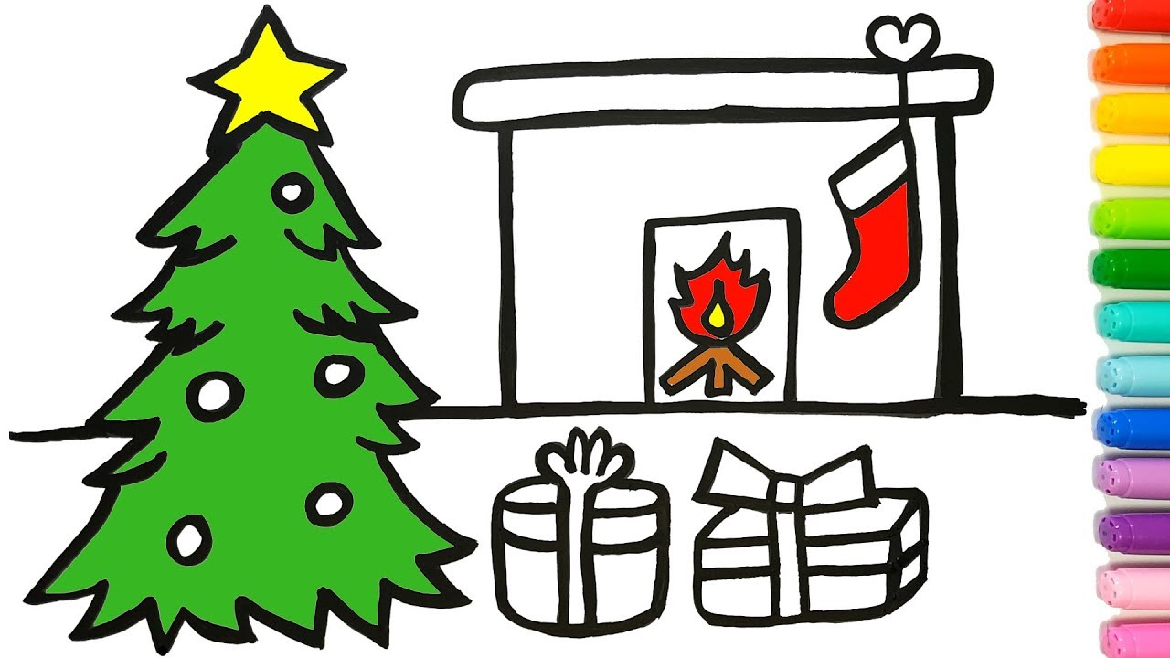 1280x720 Christmas Tree Coloring And Drawing Learn Colors For Kids Jolly