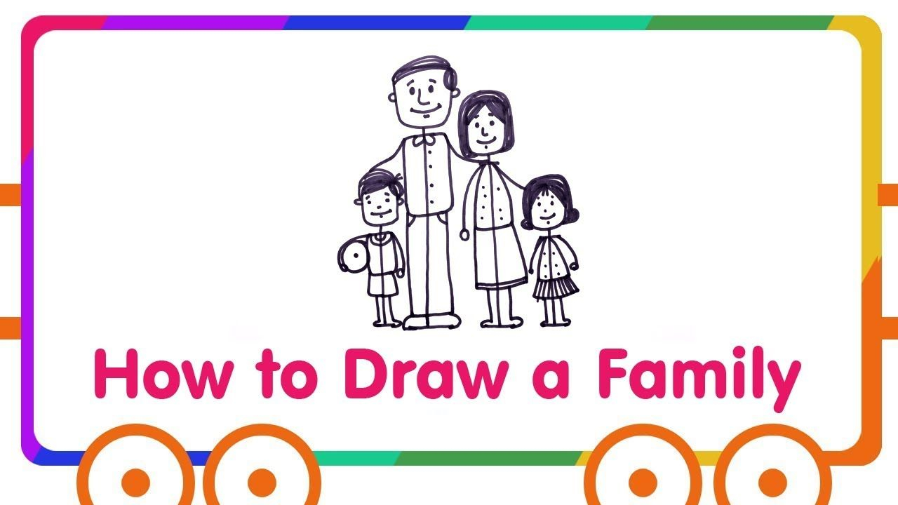 1280x720 Family Drawing For Kids How To Draw Happy Family Kindergarten
