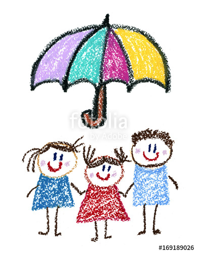 390x500 Family Social Protection Insurance Kids Drawing Children Drawing