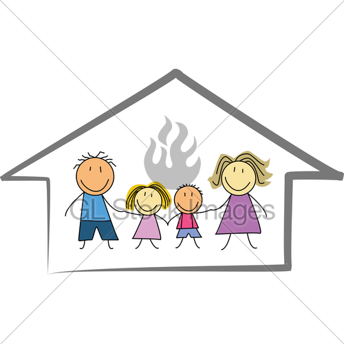 500x500 Happy Family Home House Kids Drawing Illustration Gl Stock Images