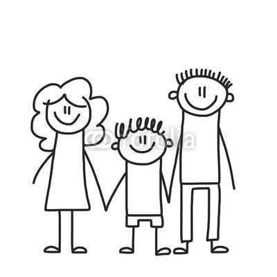 400x400 Happy Family With Children Kids Drawing Style Vector Illustration