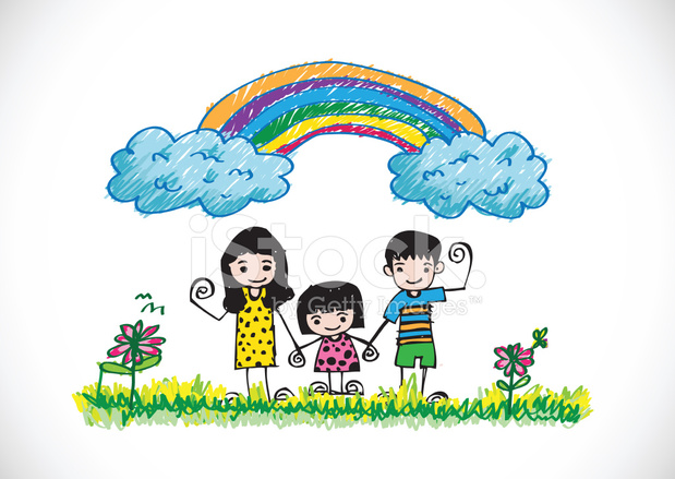 619x439 Kids Drawing Happy Family Picture Stock Photos