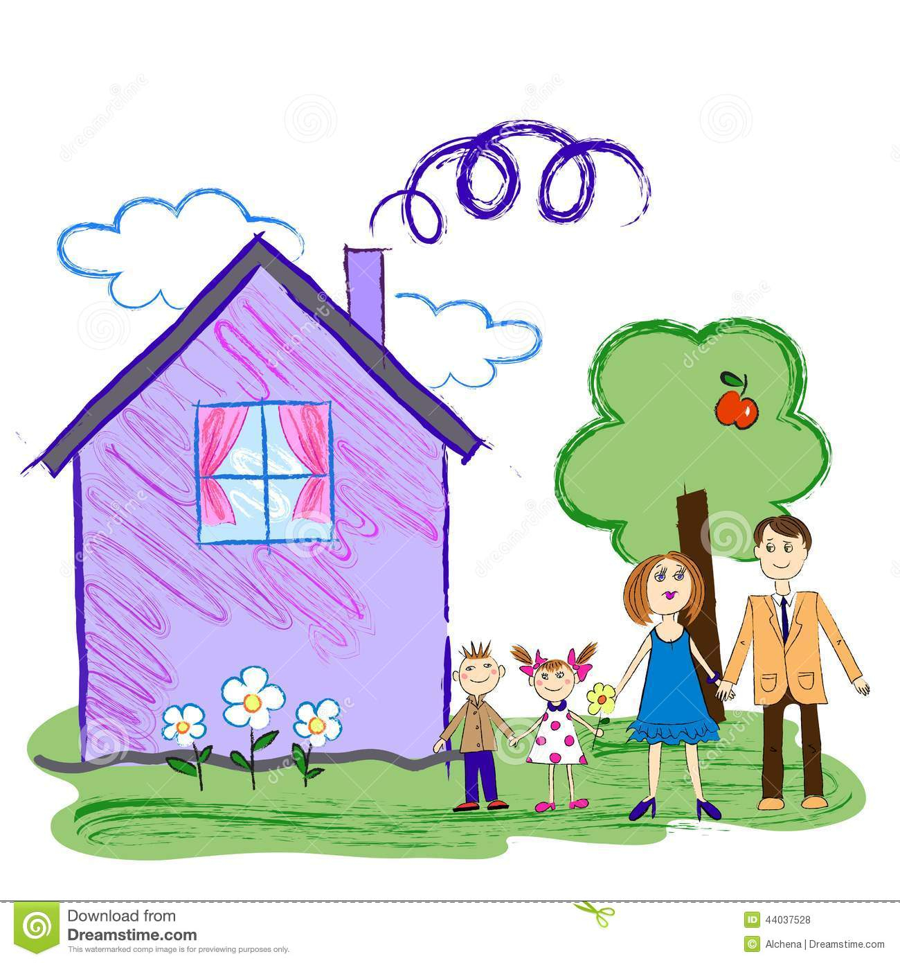 1300x1390 Kids Drawing Of A House And Kids Sketch Of Happy Family With House