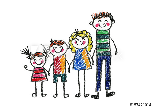 500x354 Kids Drawing Happy Family Mother, Father, Sister, Brother Boy