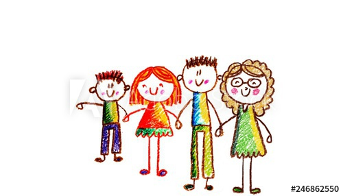 500x286 Kids Drawing Happy Family Holding Hands Mother, Father, Sister