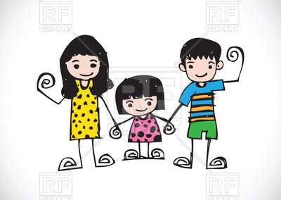 400x284 Kids Drawing With Happy Family Picture Vector Image Of People