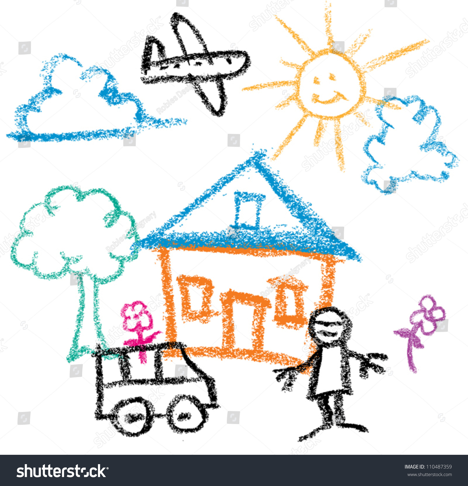 1500x1557 Powerful Kids Picture Drawing Happy Family Near Their House Drawings