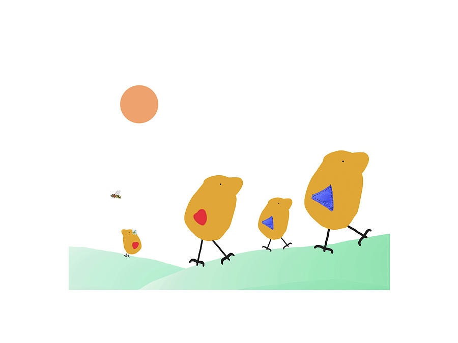 900x675 Sunny Family Walking With Kids Drawing