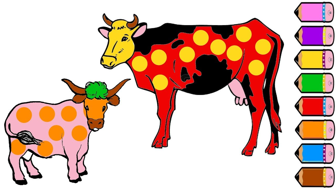 1280x720 Cow Family Coloring Page
