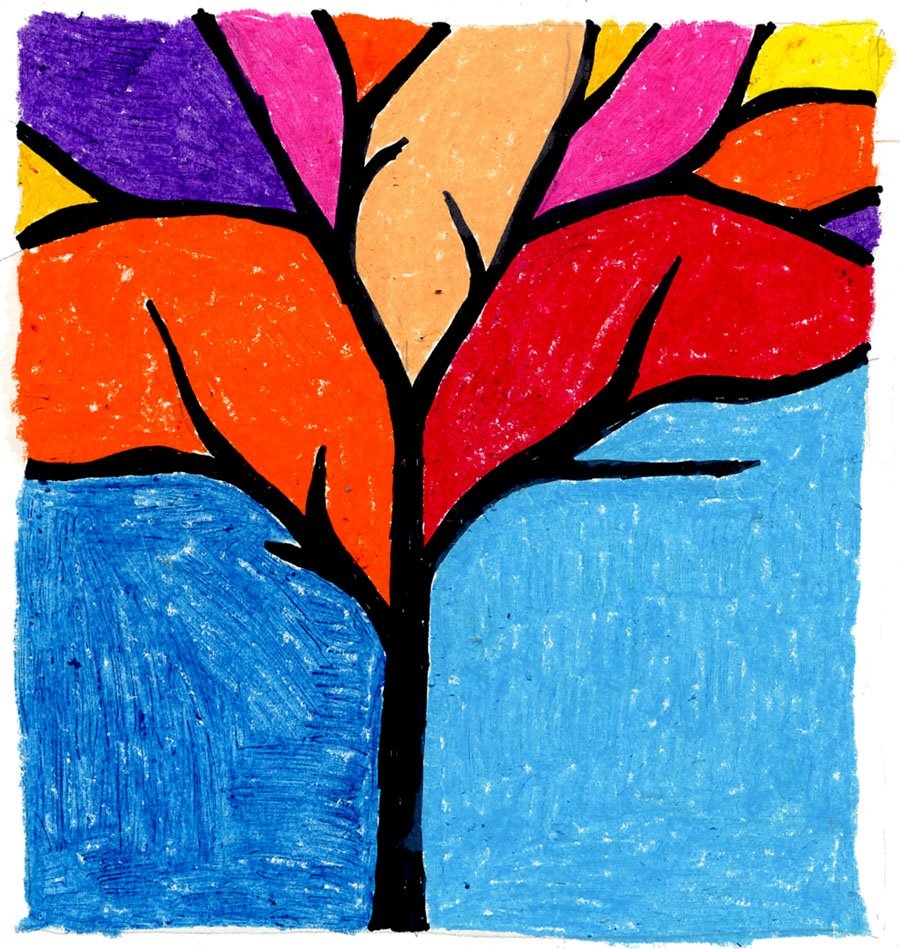 900x949 Easy Fall Tree Drawing Art Projects For Kids