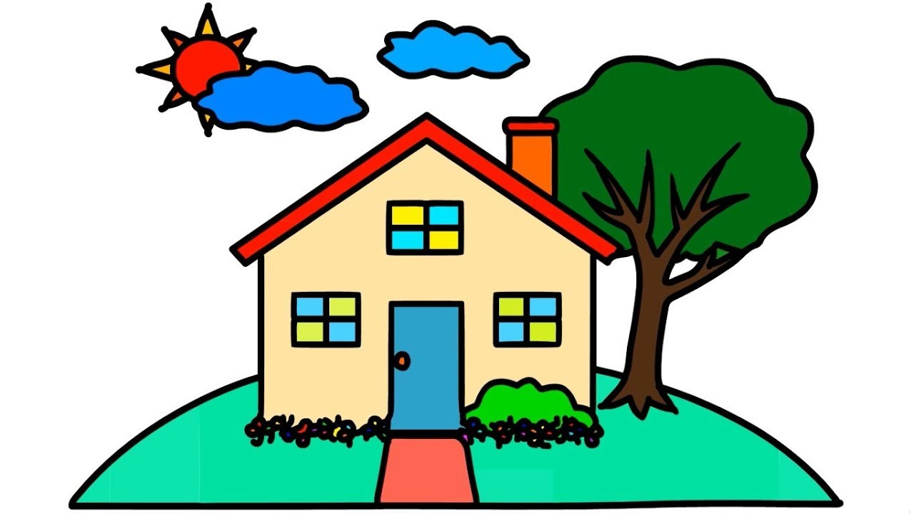 1280x720 House Tree Sun Drawing Coloring For Kids How To Draw Step