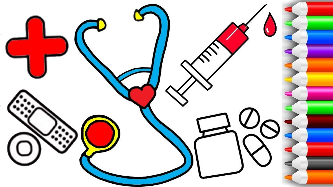 1280x720 How To Draw And Color Doctors Set Coloring Pages For Kids Play