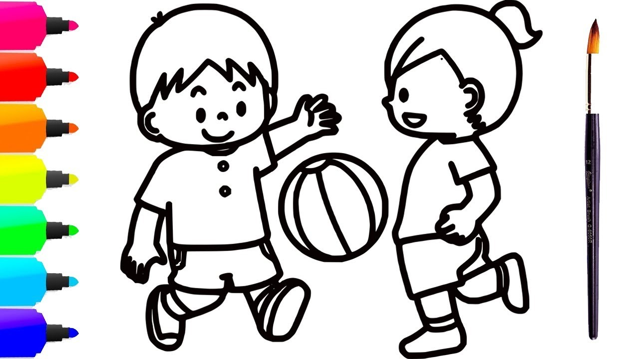 1280x720 Kids Playing Ball Drawing Coloring For Kids, Toddlers Khmer