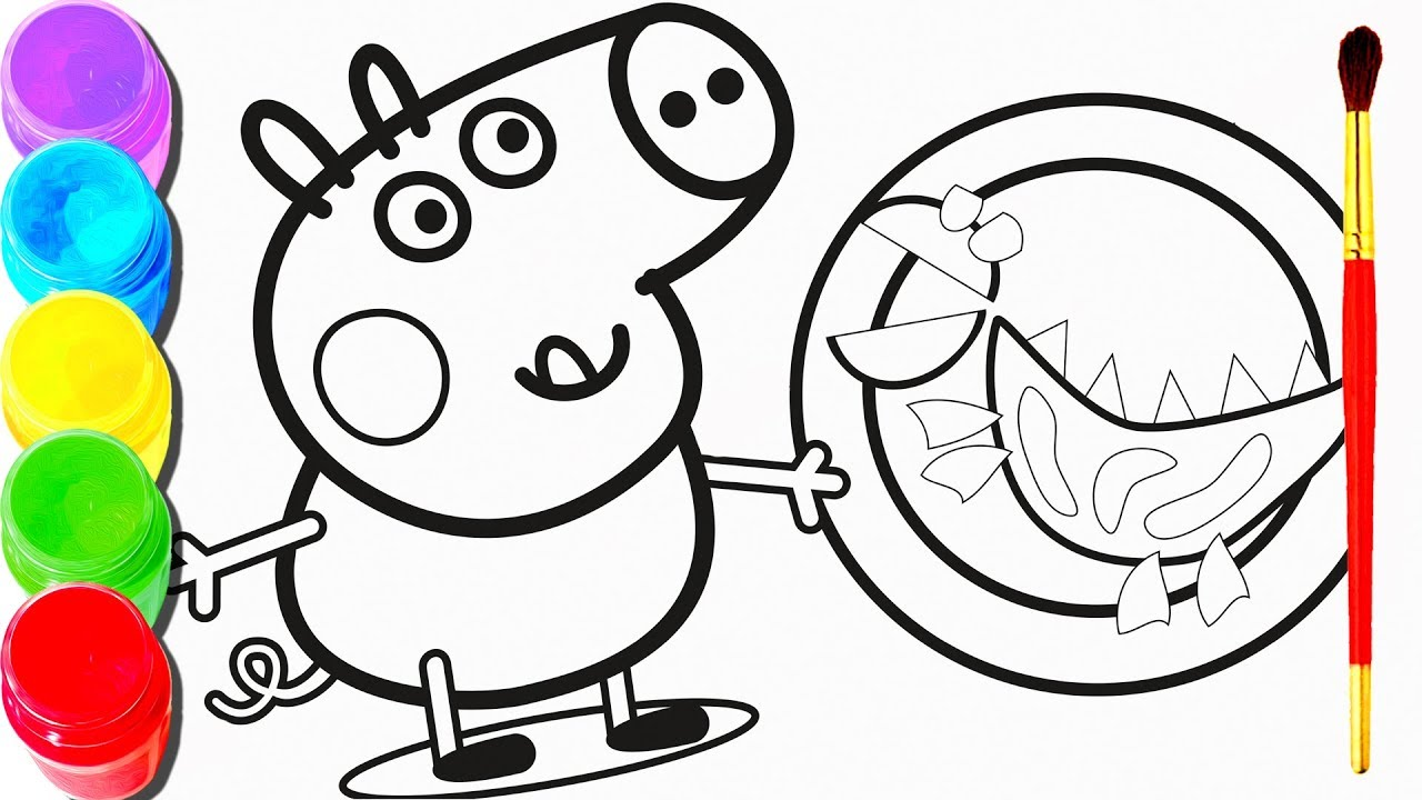 1280x720 Peppa Pig Drawing Painting George Mummy Pig Play Time Coloring