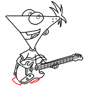300x310 Step How To Draw Phineas Playing Guitar From Phineas And Ferb