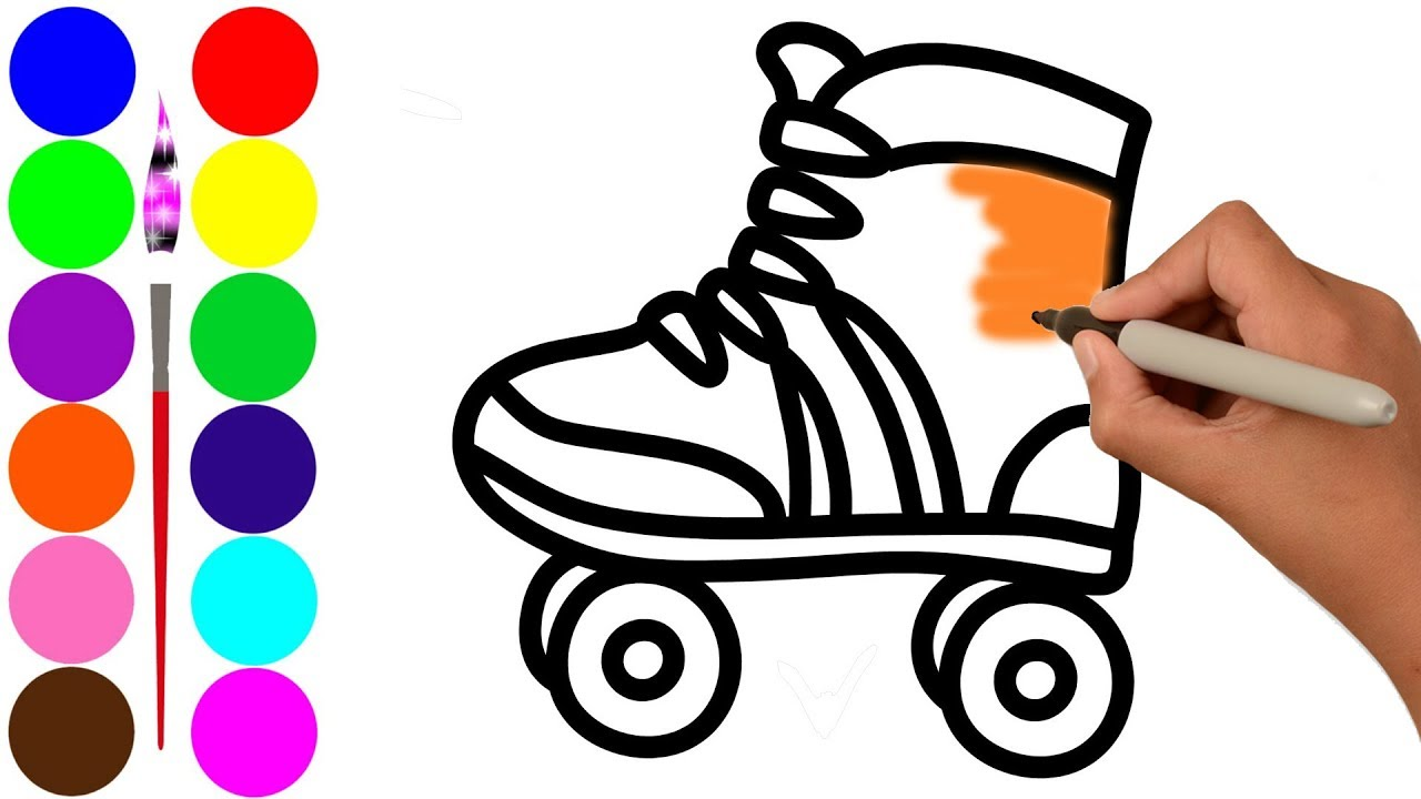 1280x720 Roller Skating Shoes Drawing For Kids