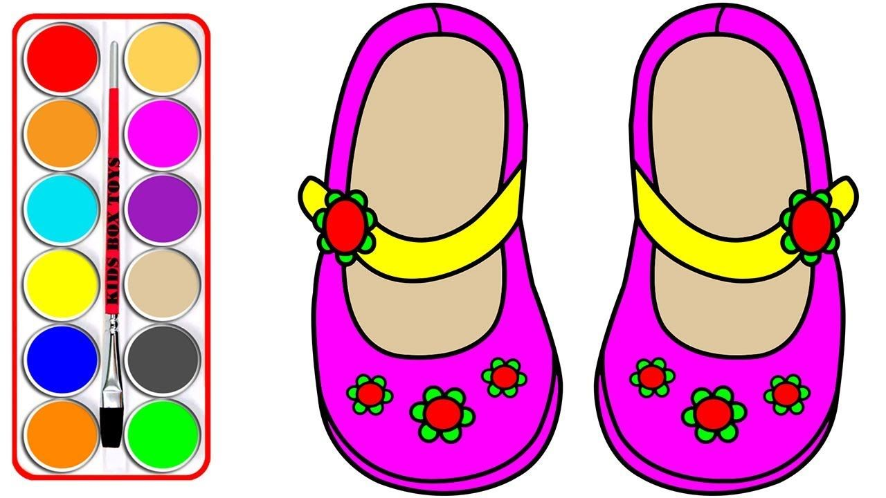 1280x720 Baby Shoes Coloring Pages Learn Colors For Kids