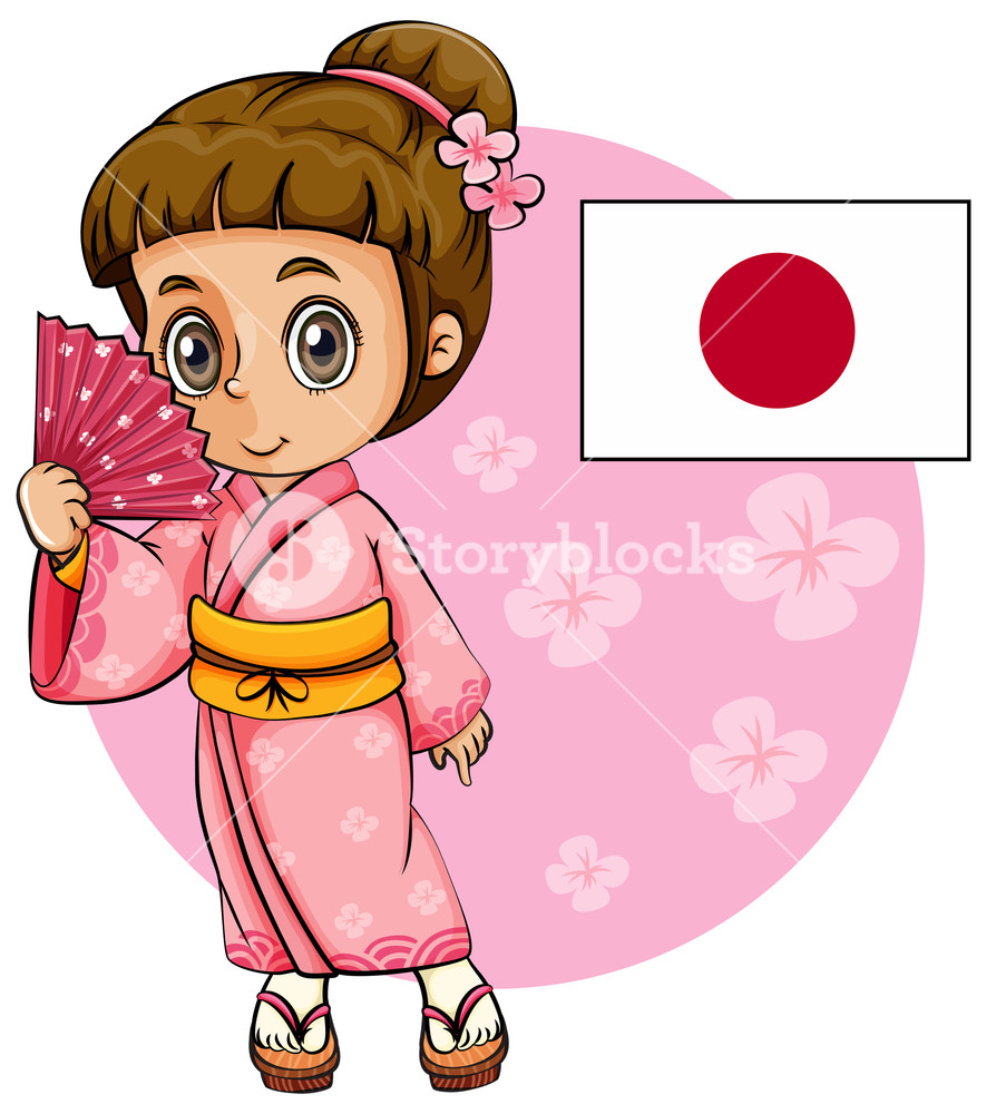 885x1000 japanese girl in pink kimono and japan flag royalty free stock