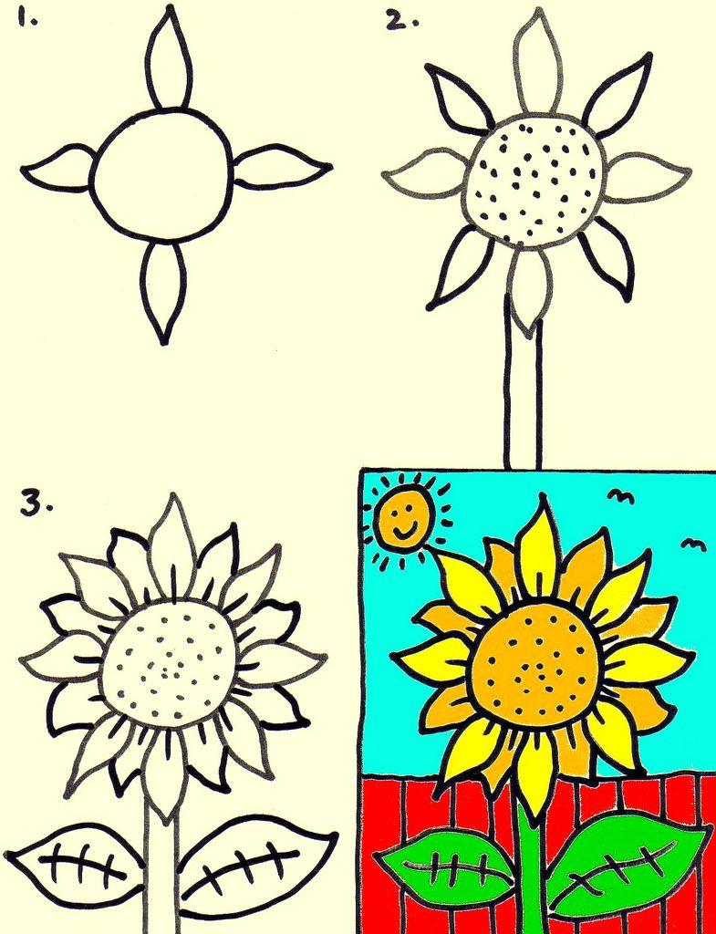785x1024 sunflower in kindergarten art for kids, kindergarten art