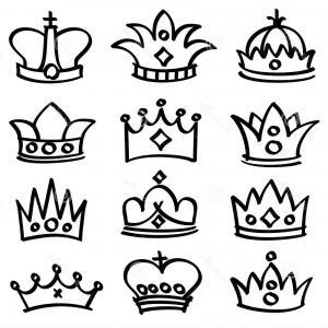 300x300 Stock Illustration Luxury Doodle Queen Crowns Vector Sketch