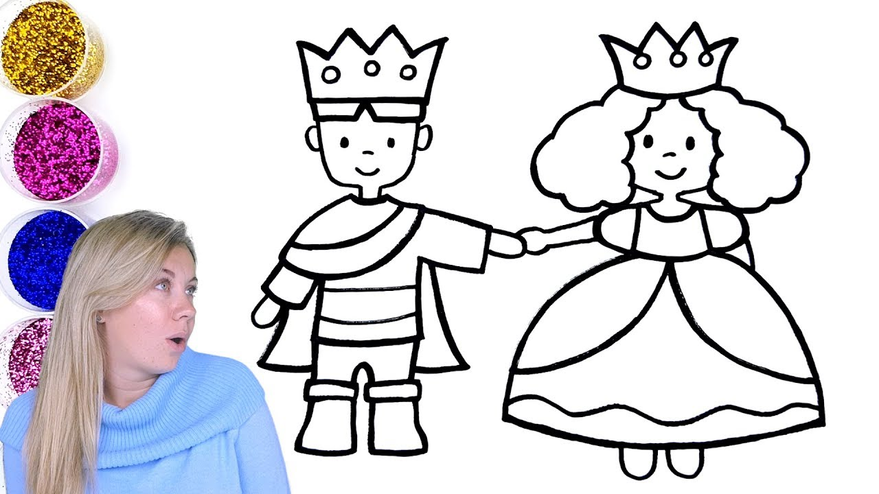 1280x720 Little King And Queen Coloring With Glitter