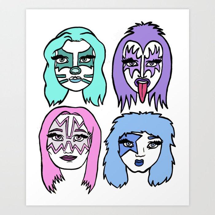 700x700 Girl Band Kiss Art Print