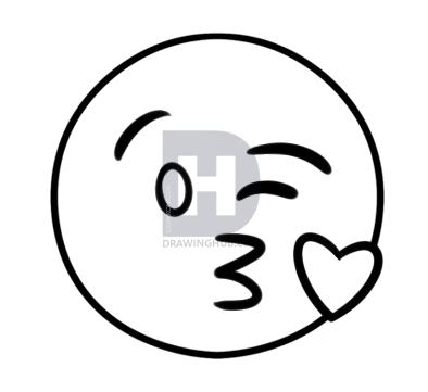 394x361 How To Draw The Kiss Emoji, Step
