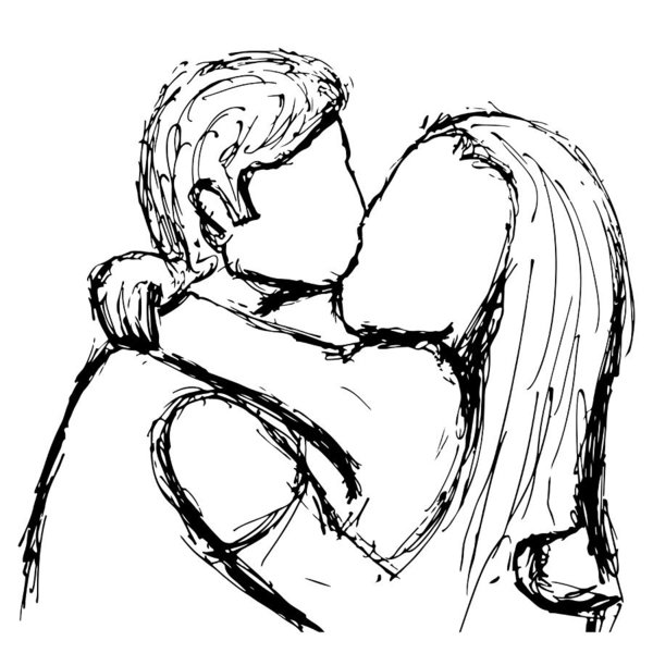 600x600 Sketch Of A Kissing Couple In Love With A Gel Pen Vector